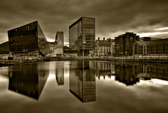 Salthouse  Quay Liverpool (Explored 10/09/2011) (mrcheeky2009) Tags: old longexposure urban blackandwhite bw modern liverpool twilight cityscape dramatic fx drama hdr albertdock reflectionwater tonemapped salthousequayliverpool