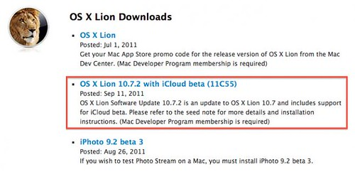 OS X Lion 10.7.2 with iCloud beta