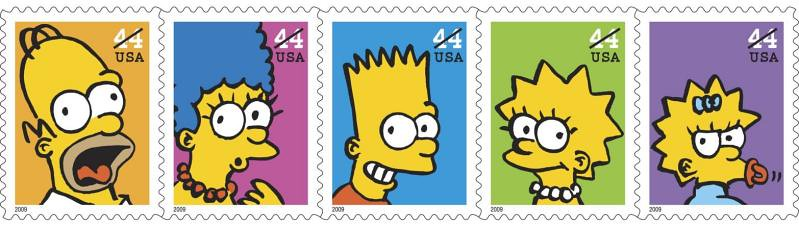 selo postal simpsons