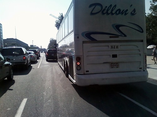 Dillons bus splits lane