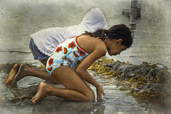 Playing in the sand (Artypixall) Tags: seaweed texture beach sand pacificocean younggirls
