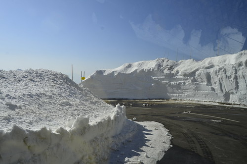 the snow on the side of the road