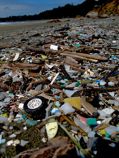 An ugly scene that is entirely manmade: A beach invasion of garbage, and much of it is plastic., From ImagesAttr