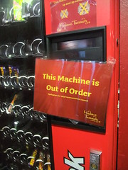 Out of order (jppyro) Tags: london sign notice machine vendingmachine damaged printed madametussauds outoforder needsrepair undermaintenance notworkingbroken