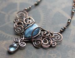 Stormy Weather (Danagonia) Tags: blue wedding fairytale necklace copper steampunk kyanite saphire wirewrap briolette danagonia