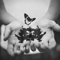rorschach. (robby.cavanaugh) Tags: bw test ink butterfly 1 photo hands photographer rorschach card robby cavanaugh blot