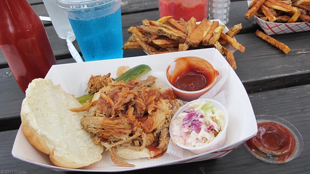 Pulled pork sandwich and sides