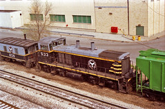 BRC 533 Kedzie Ave. 2 (5-1-89) (eyepilot13) Tags: railroad trains caboose brc 1989 209 locomotives rockwellstreetyard mp15dc533transfer