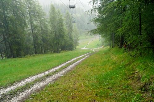 Climbing down under the rain