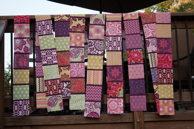 Strips of squares that will be the back of my bilboard quilt