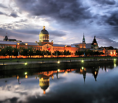 Old Montreal Reflections (` Toshio ') Tags: longexposure sunset canada history lights montreal wideangle chapel dome historical oldmontreal toshio marchbonsecours ruesaintpaul bonsecoursmarket bluehourreflectionbuildingarchitecturecloudsstormrainwaterrivercanalcloudychurchnotredamedebonsecours
