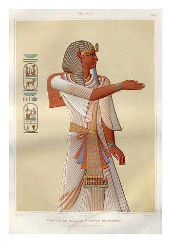 010-Portarretrato del faraon Mienpthah-Hotephimat- Tebas dinastia XIX-Histoire de l'art égyptien 1878- Achille Constant Théodore Émile