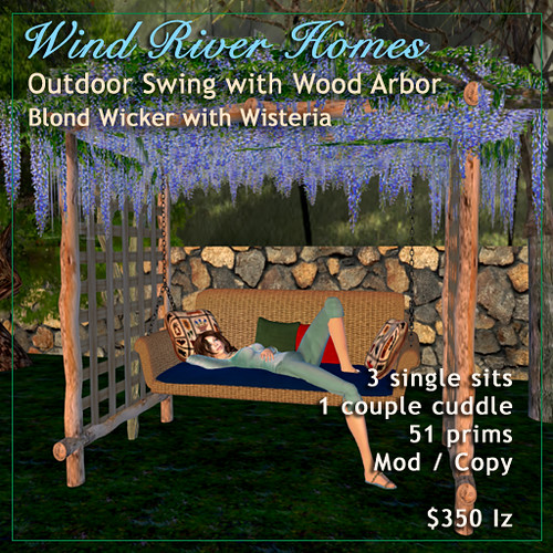 Blond Wicker Outdoor Swing with Wisteria Arbor