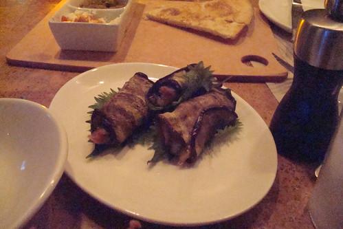 Eggplant Rolls Serrano ham, smoked mozzarella & basil
