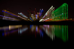 Zoomin' Dallas (BeachBumBlu) Tags: city reflection water skyline night lights dallas texas trinityriver thechallengefactory fotocompetitionbronze