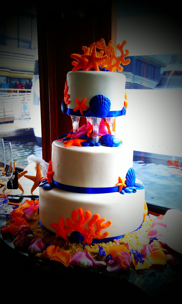 Sea themes wedding cake