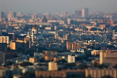 Tilt-Shift Moscow (Serge Freeman) Tags: city houses church photoshop buildings evening cityscape russia moscow aerial