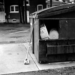 Clean Up (Dan Domme) Tags: blackandwhite bw 120 monochrome trash dumpster mediumformat hasselblad mop fp4 xtol ilfordfp4 ilfordfp4plus hasselblad500cm asa125