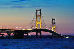 """Night Lights"" Mackinac Bridge Mackinaw City Michigan. (Michigan Nut) Tags: travel bridge sunset vacation sky usa horizontal clouds america geotagged outdoors photography lights midwest dusk michigan scenic landmark lakemichigan upperpeninsula suspensionbridge tranquil lakehuron mackinacbridge mackinawcity johnmccormick nikonnikkor70300mmf4556gedifafsvrtelephotozoomlens"