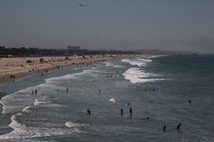 IMG_0103 (J. Cahn) Tags: ocean california park santa blue venice sky bird beach water silhouette landscape pier sand waves pacific santamonica pacificocean monica santamonicapier pacificpark