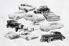 Largest Commission to Date (Tyler Linner) Tags: cars ford chevrolet car pencil sketch automobile mercury stingray drawing convertible chevy 40 custom impala prismacolor thunderbird coupe 34 rendering shoebox tbird 58 kustom crestliner verithin steelies