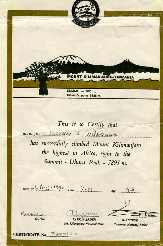 1990, TANSANIA, Zertifikat über erfolgreiche Klimanjaro-Besteigung Nairobi-Kapstadt per Motorrad-14