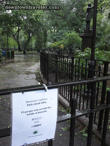 Aftermath of Hurricane Irene in NYC_Tompkins Square Park closed sign