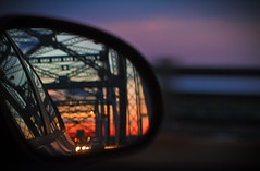 sunsets in side mirrors pt. II (Shandi-lee) Tags: new york nyc bridge sunset car mirror