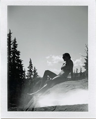 (henry_cotton) Tags: trees summer blackandwhite lake green nature oregon polaroid fuji bend hiking fp landcamera 100b