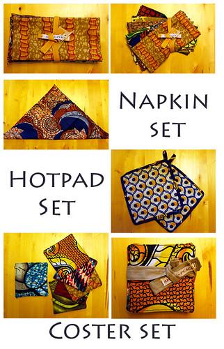 Napkin set, coster set, hotpads