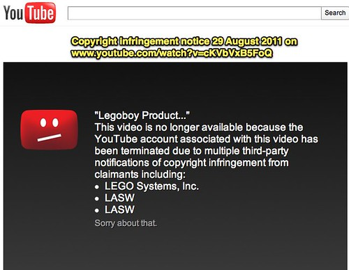 Copyright Infringement Notice on LegoBoy YouTube Channel