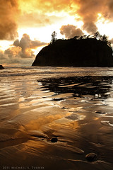 Sunset over Abbey Island at Ruby Beach, Olympic National Park (Michael S. Turner) Tags: sunset ruby beach rubybeach olympic national park olympicnationalpark tide ocean pacificocean pacific coast sea texture pattern damp reflection sun cloud washington olympicpeninsula seascape oceanscape landscape nature canon xsi 450d 1740 1740mm stack seastack abbey island abbeyisland northwest kalaloch travel pacificnorthwest reflect
