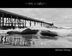 CHB in B&W (Andrew Cooney Photography) Tags: new morning blackandwhite bw white seascape black reflection rock wales sunrise landscape photography bay coast early blackwhite nikon rocks waves crash jetty south hill central wave australia scene andrew catherine nsw shutter newsouthwales ward centralcoast pontoon cooney 1635mm d90 catherinehillbay nikond90 nikon1635mm andrewcooney andrewcooneyphotography