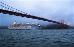 Crystal Symphony in the Fog (LifeLover4) Tags: sf california fog canon bay boat fishing ship ps goldengatebridge marinheadlands arima ggnra crystalsymphony parkpic sd1100 lifelover4 stickneydesign ggb75