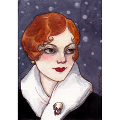 she wasn't like the other girls 9-2-11 (the brilliant magpie) Tags: blue 1920s portrait woman art halloween girl atc night watercolor painting hair skull miniature vampire bob wrap redhead aceo flapper etsy vamp reyes stole amyabshier