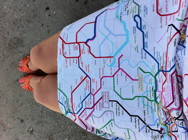 Taking transit to UCLA to talk about transit, wearing a--yes!--transit-themed dress.