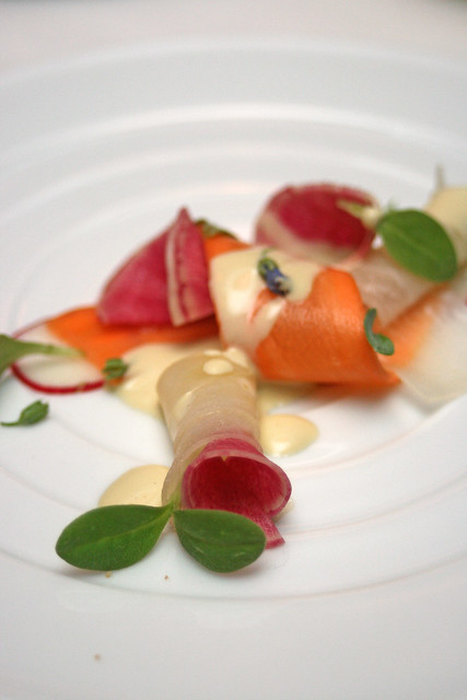 Shaved young vegetables with ocean herbs and oyster vinaigrette