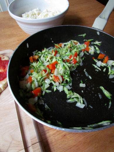Cooked Shredded Zucchini, Peppers and Onions