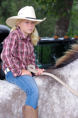 Girl on Horse Country Strong (Philip Osborne Photography) Tags: blue horse hat club bareback blueeyes young east jeans cowgirl rowan ponytails saddle