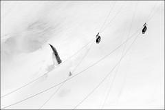 aiguille du midi (heavenuphere) Tags: bw snow france mountains alps car alpes landscape cable climbing alpine chamonix montblanc massif aiguilledumidi hautesavoie rhnealpes chamonixmontblanc 55250mm tlphriquedelaiguilledumidi valleblancheaerialtramway
