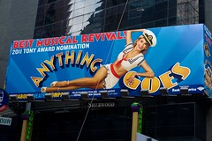 Gigantic billboard advertising Anything Goes. Anything Goes is currently playing at Stephen Sondheim Theatre. Oviously it's possible to name a theatre after still living persons. (Jimmy Svensson) Tags: newyork broadway musical timessquare anythinggoes suttonfoster stephensondheimtheatre