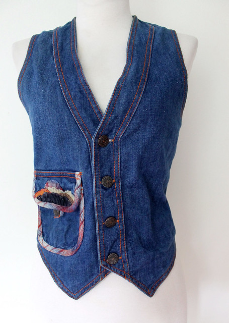 Cotton Denim Blue Jean Vest, vintage 70s