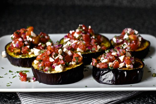 roasted eggplant with tomatoes and mint