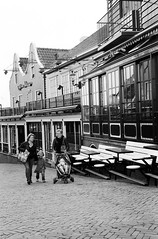 "Volendam (Peter Gutierrez) Tags: photo europe european holland nederlands netherlands dutch north ""north holland"" ijsselmeer edamvolendam volendam town village city zuiderzee water boat boats port harbor harbour architecture buildings black white bw zwart wit peter gutierrez petergutierrez film paysbas hollande"