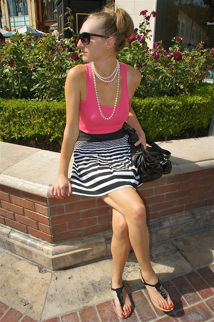 Pink with black and white stripes outfit