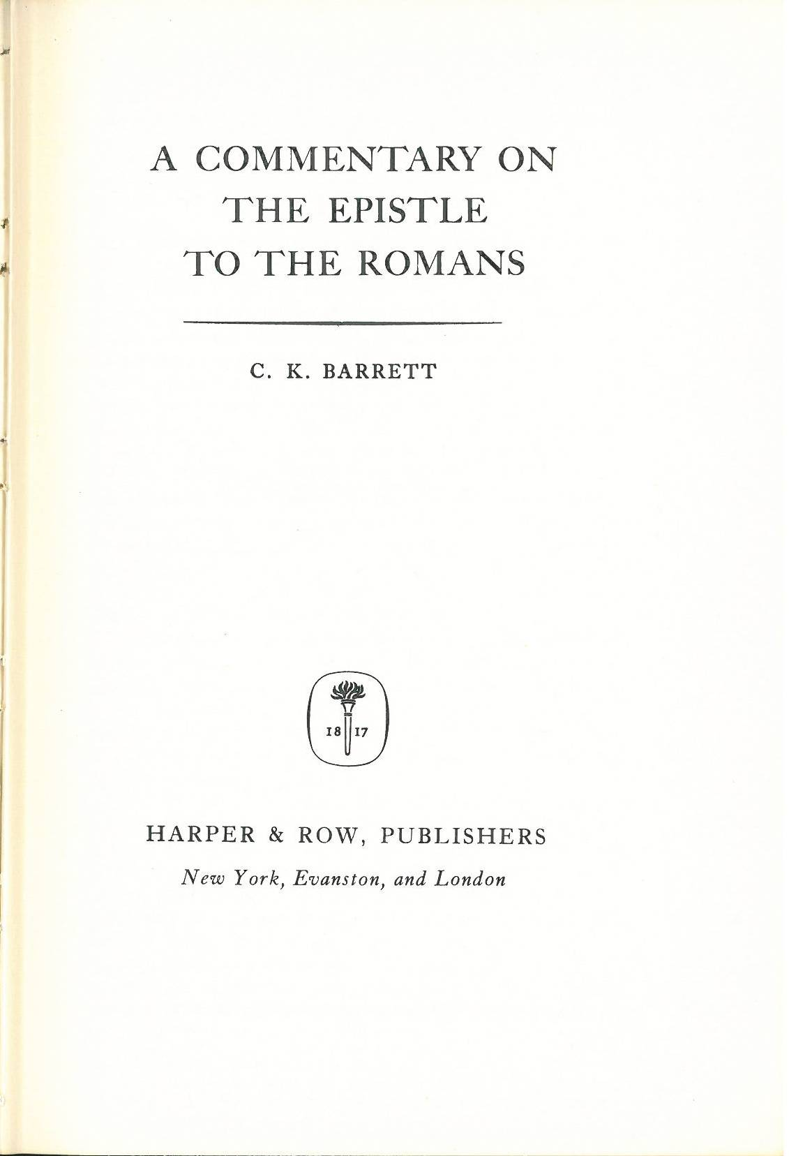 Commentaries On The Times: Charles Kingsley Barrett
