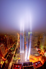 A Preview of the 2011 Tribute in Light (9/11 Memorial) #2 (RBudhu) Tags: nyc newyorkcity ny newyork worldtradecenter 911 september112001 twintowers gothamist neverforget groundzero newyorknewyork batteryparkcity worldfinancialcenter lowermanhattan whotel tributeinlight wfc urbanskyline 7wtc 911memorial downtownmanhattan 7worldtradecenter freedomtower sevenworldtradecenter threeworldfinancialcenter downtownclub oneworldfinancialcenter twofinancialcenter 123washingtonstreet 9112010