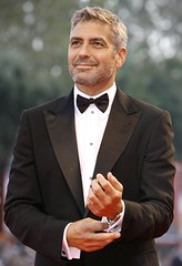 George Clooney (Welleftch) Tags: portrait man black hot sexy celebrity face shirt eyes background candid jaw handsome tie lips event tuxedo american bow actor premiere celeb producer georgeclooney appearance screenwriter filmdirector