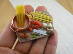Spaghetti Preparation Board (Shay Aaron) Tags: wood italy food kitchen dinner tomato lunch cuisine miniature italian dish handmade sauce board knife dry mini vegetable pasta pot polymerclay fimo tiny garlic onion veggies spaghetti veg 12th 112 preparation dollhouse petit shallot basilleaf oneinchscale shayaaron