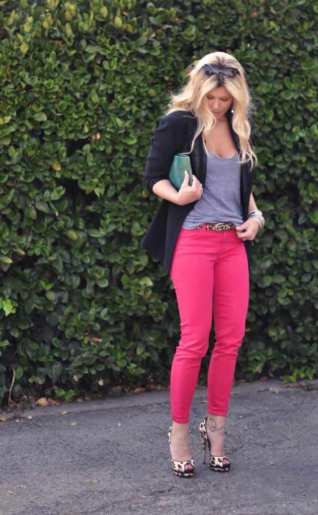 j brand pink jeans   and  leopard accessories black blazer
